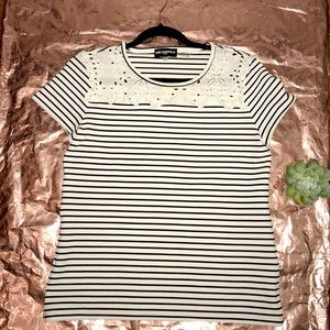 Karl Lagerfeld Striped Top with Cotton Embroidery